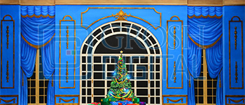 Growing Christmas Tree- Blue Parlor (Small) Projected Backdrop for A Christmas Carol, Annie, Celebration, Holiday, Interiors, Nutcracker, Palace/Parlors