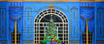 Growing Christmas Tree- Blue Parlor (Medium) Projected Backdrop for A Christmas Carol, Annie, Celebration, Holiday, Interiors, Nutcracker, Palace/Parlors