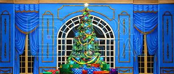 Growing Christmas Tree- Blue Parlor (Large) Projected Backdrop for A Christmas Carol, Annie, Celebration, Holiday, Interiors, Nutcracker, Palace/Parlors
