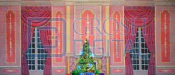 Growing Christmas Tree- Pink Parlor (Small) Projected Backdrop for A Christmas Carol, Annie, Celebration, Holiday, Interiors, Nutcracker, Palace/Parlors
