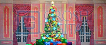 Growing Christmas Tree- Pink Parlor (Large) Projected Backdrop for A Christmas Carol, Annie, Celebration, Holiday, Interiors, Nutcracker, Palace/Parlors