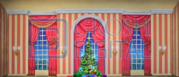 Growing Christmas Tree- Stripe Parlor (Small) Projected Backdrop for A Christmas Carol, Annie, Celebration, Holiday, Interiors, Nutcracker, Palace/Parlors