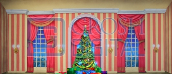 Growing Christmas Tree- Stripe Parlor (Medium) Projected Backdrop for A Christmas Carol, Annie, Celebration, Holiday, Interiors, Nutcracker, Palace/Parlors