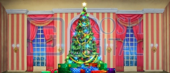 Growing Christmas Tree- Stripe Parlor (Large) Projected Backdrop for A Christmas Carol, Annie, Celebration, Holiday, Interiors, Nutcracker, Palace/Parlors