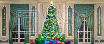 Growing Christmas Tree- Green Parlor (Large) Projected Backdrop for A Christmas Carol, Annie, Celebration, Holiday, Interiors, Nutcracker, Palace/Parlors