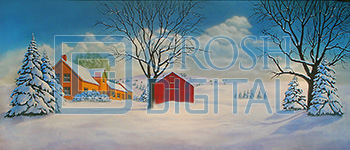 Farm in Winter Projected Backdrop for A Christmas Carol, Exteriors, Forest, Landscapes, Oklahoma, Snows