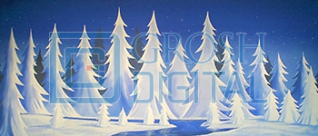Stylized Night Snow Landscape Projected Backdrop for Nutcracker, Snows