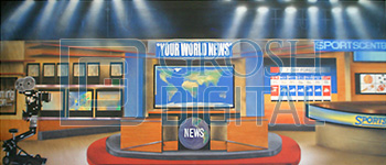 News Station Montage Projected Backdrop for Interiors