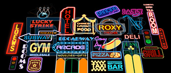 New York Street Montage Projected Backdrop for Annie, Exteriors, Guys and Dolls, Hairspray, Madagascar, Streets