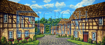 European Village Projected Backdrop for Beauty and the Beast, Exteriors, Giselle, Villages