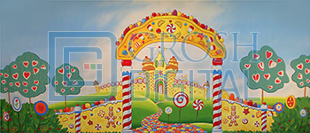 Candyland Projected Backdrop for Charlie and the Chocolate Factory, Interiors, Land of the Sweets, Nutcracker