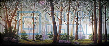 Spring Forest Projected Backdrop for Addams Family, Alice in Wonderland, Beauty and the Beast, Big Fish, Brigadoon, Cinderella, Forest, Into the Woods, Lion King, Madagascar, Peter Pan, Seven Brides for Seven Brothers, Shrek, Sleeping Beauty, Wizard of Oz