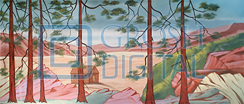Rustic Cabin Landscape Projected Backdrop for Brigadoon, Landscapes