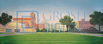 Football Field Projected Backdrop for Exteriors, Grease, High School Musical, Music Man