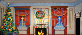 Victorian Parlor with Christmas Tree Projected Backdrop for