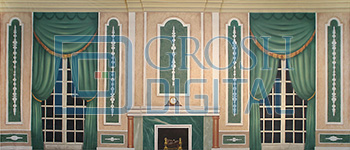 Green Victorian Parlor Projected Backdrop for A Christmas Carol, Annie, Beauty and the Beast, Cinderella, Coppelia, Interiors, Les Miserables, Little Mermaid, Mary Poppins, Music Man, Nutcracker, Palace/Parlors, Sleeping Beauty