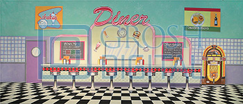 50's Interior Diner Projected Backdrop for Footloose, Grease, Hairspray, Interiors