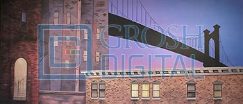 Rooftop with Bridge Projected Backdrop for Exteriors, Guys and Dolls, Skylines, Streets