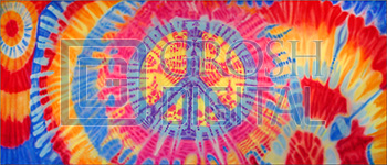 Tie Die Peace Sign Projected Backdrop for Abstract, Dance, Hairspray