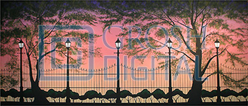 Park at Sunset Projected Backdrop for Exteriors, Gardens, Landscapes, Mary Poppins