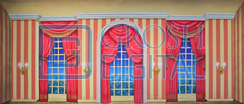 Victorian Parlor with Stripes Projected Backdrop for Interiors, Les Miserables, Nutcracker, Palace/Parlors, Sound of Music