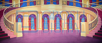 Palace Interior with Staircase Projected Backdrop for Cinderella, Palace/Parlors, Sound of Music