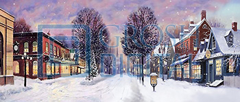 Winter Small Town Projected Backdrop for Holiday, Snow Backdrop Projections, Streets, Towns, Villages