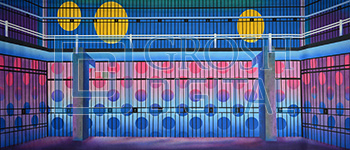Colorful Prison Projected Backdrop for