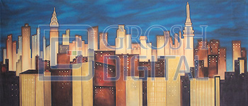 Stylized New York Skyline Projected Backdrop for 42nd Street, Annie, Big Fish, Broadway/New York, Elf the Musical, Exteriors, Guys and Dolls, Hairspray, How to Succeed in Business, Newsies, Skylines, Streets, Thoroughly Modern Millie, West Side Story