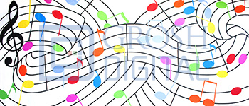 Colorful Musical Notes Projected Backdrop for Abstract, Dance, Music Man
