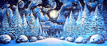 Night Snow Landscape 2 Projected Backdrop for A Christmas Carol, Forest, Frozen, Nutcracker, Snows