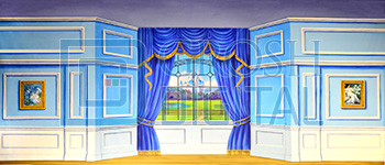 Interior with Castle View Projected Backdrop for Castles, Cinderella, Interiors, Nutcracker, Shrek