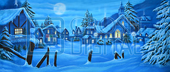 Winter Village Projected Backdrop for A Christmas Carol, Holiday, Snows, Streets, Towns, Villages