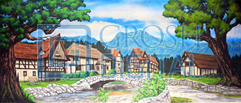 Village Projected Backdrop for Beauty and the Beast, Big Fish, Brigadoon, Coppelia, Exteriors, Giselle, Landscapes, Villages
