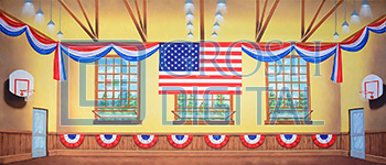 Patriotic Gymnasium Projected Backdrop for Bye Bye Birdie, Footloose, Grease, Hairspray, High School Musical, Interiors, Music Man