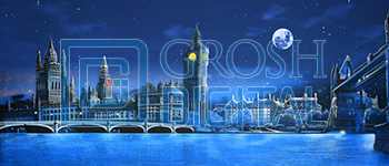 London Skyline at Night Projected Backdrop for