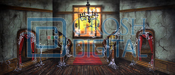 Haunted Mansion Interior Projected Backdrop for Addams Family, Holiday, Interiors