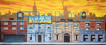 New York Street Projected Backdrop for 42nd Street, Annie, Damn Yankees, Elf the Musical, Exteriors, Guys and Dolls, How to Succeed in Business, Little Shop of Horrors, Madagascar, Newsies, Skylines, Streets, Thoroughly Modern Millie, West Side Story