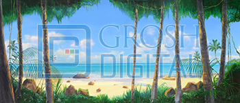 Tropical Beach with Jungle Foliage Projected Backdrop for