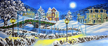 Christmas Village Projected Backdrop for A Christmas Carol, Holiday, Snow Backdrop Projections, Towns, Villages