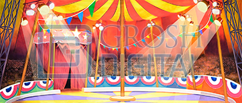 Circus Tent Interior Projected Backdrop for Annie Get Your Gun, Big Fish, Grease, Interiors