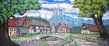 Village with Castle Projected Backdrop for Beauty and the Beast, Brigadoon, Castles, Cinderella, Coppelia, Exteriors, Giselle, Into the Woods, Little Mermaid, Sleeping Beauty, Towns, Villages