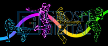 Neon Dancers Projected Backdrop for Abstract, Dance