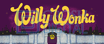 Willy Wonka Show Curtain Projected Backdrop for Charlie and the Chocolate Factory, Show Curtains
