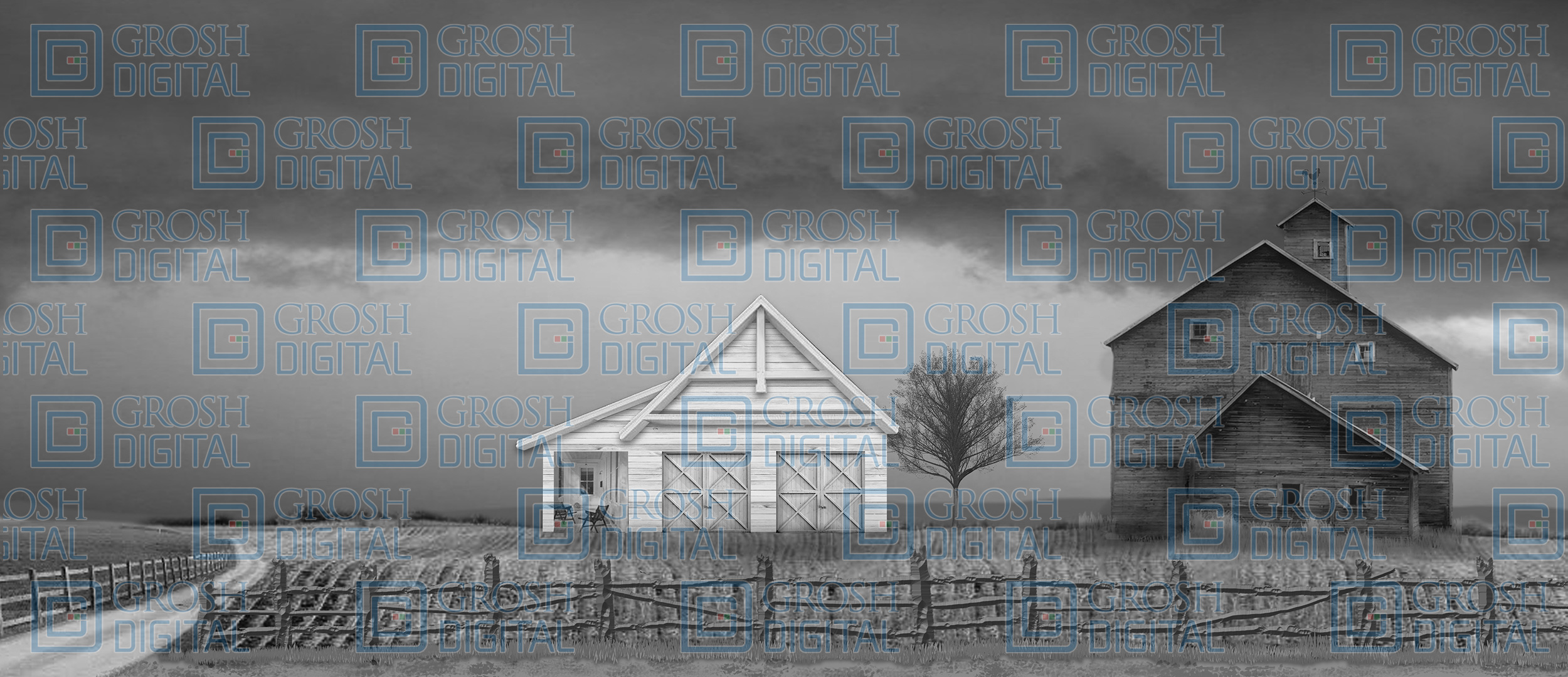 Black and White Kansas Farm Projected Backdrop for Landscapes, Wizard of Oz