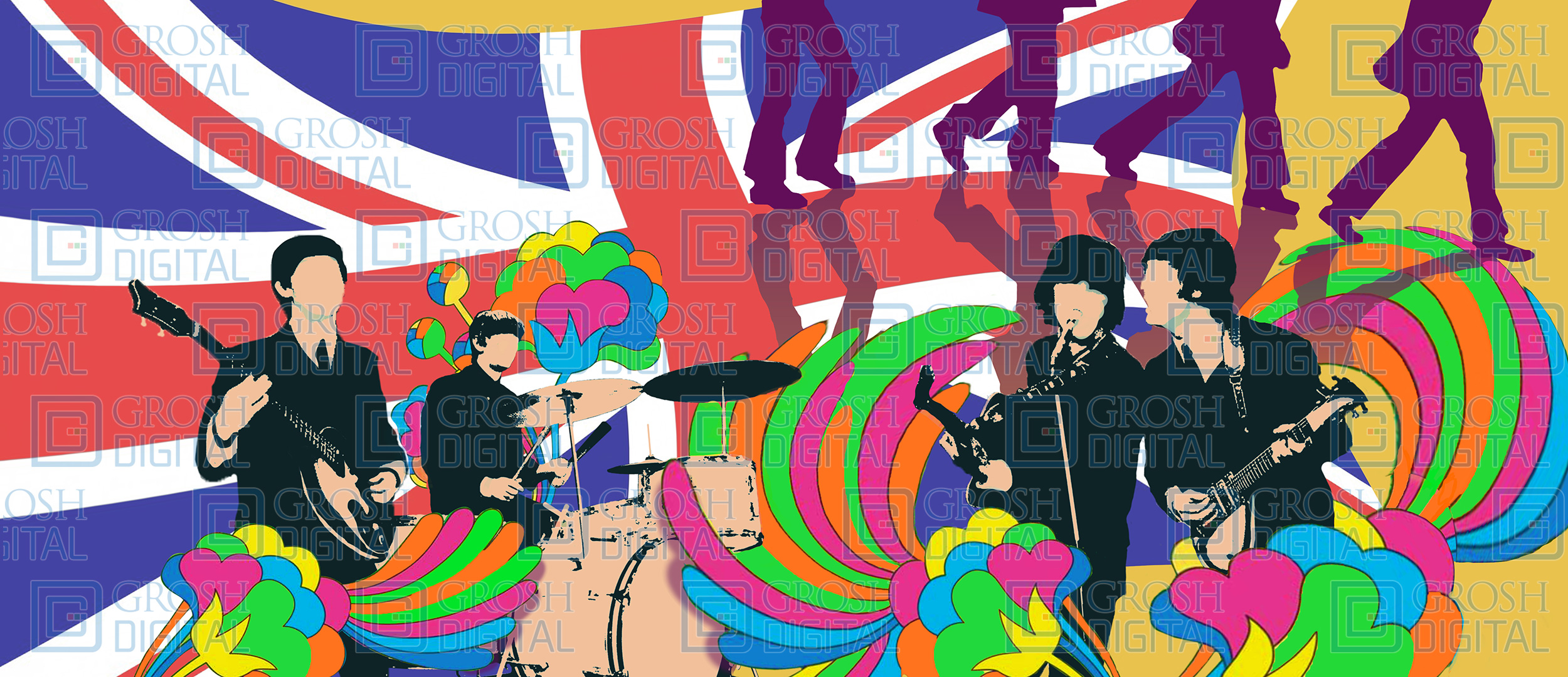 The fab four projected backdrops grosh digital the fab four projected backdrop for abstract dance malvernweather Image collections