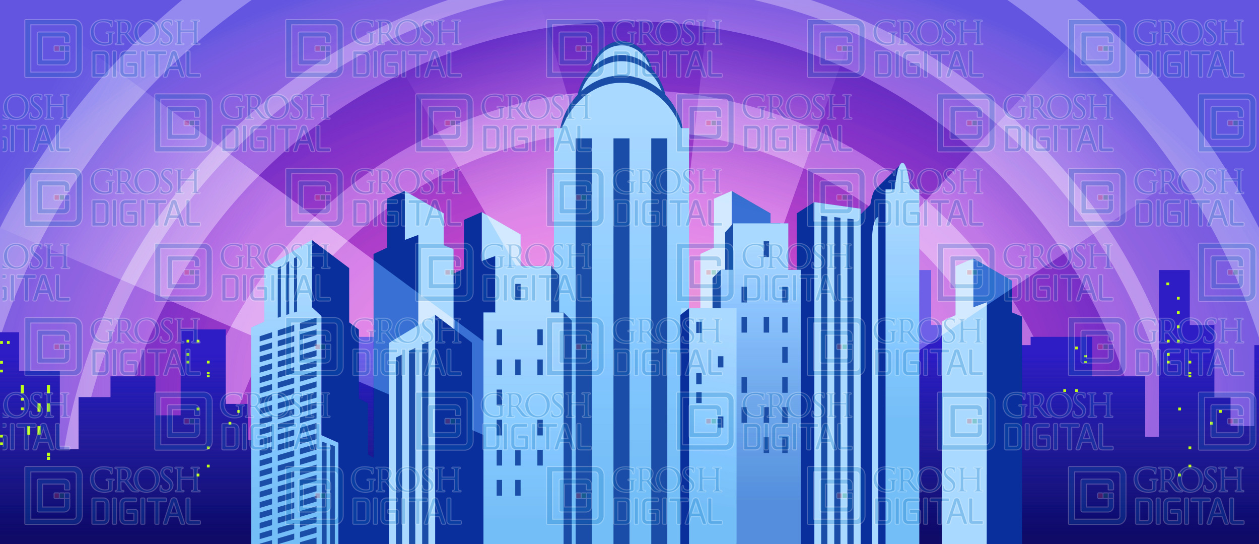 Blue Art Deco City Projected Backdrop for Big Fish, Broadway/New York, Hollywood, How to Succeed in Business, Madagascar, Skylines, Thoroughly Modern Millie