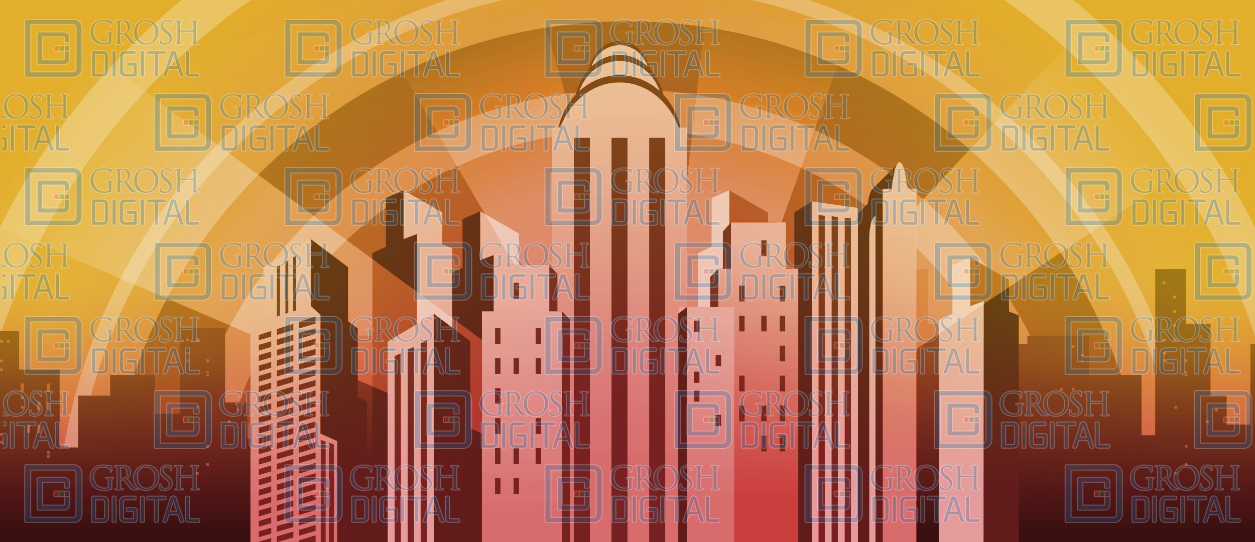 Yellow Art Deco City Projected Backdrop for Hollywood, How to Succeed in Business, Skylines, Thoroughly Modern Millie