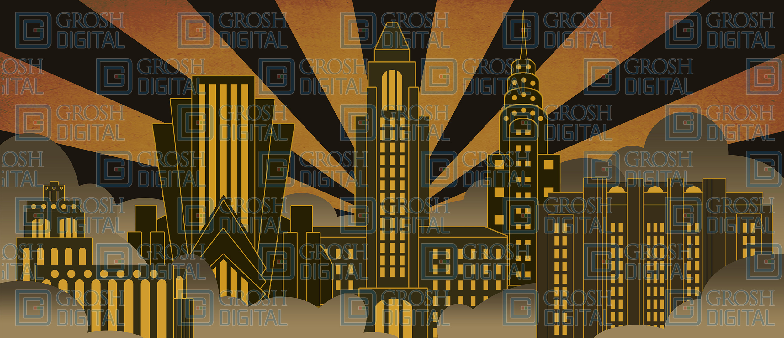 Art Deco City Projected Backdrop for Abstract, Big Fish, Damn Yankees, Exteriors, Guys and Dolls, How to Succeed in Business, Newsies, Skylines, Thoroughly Modern Millie