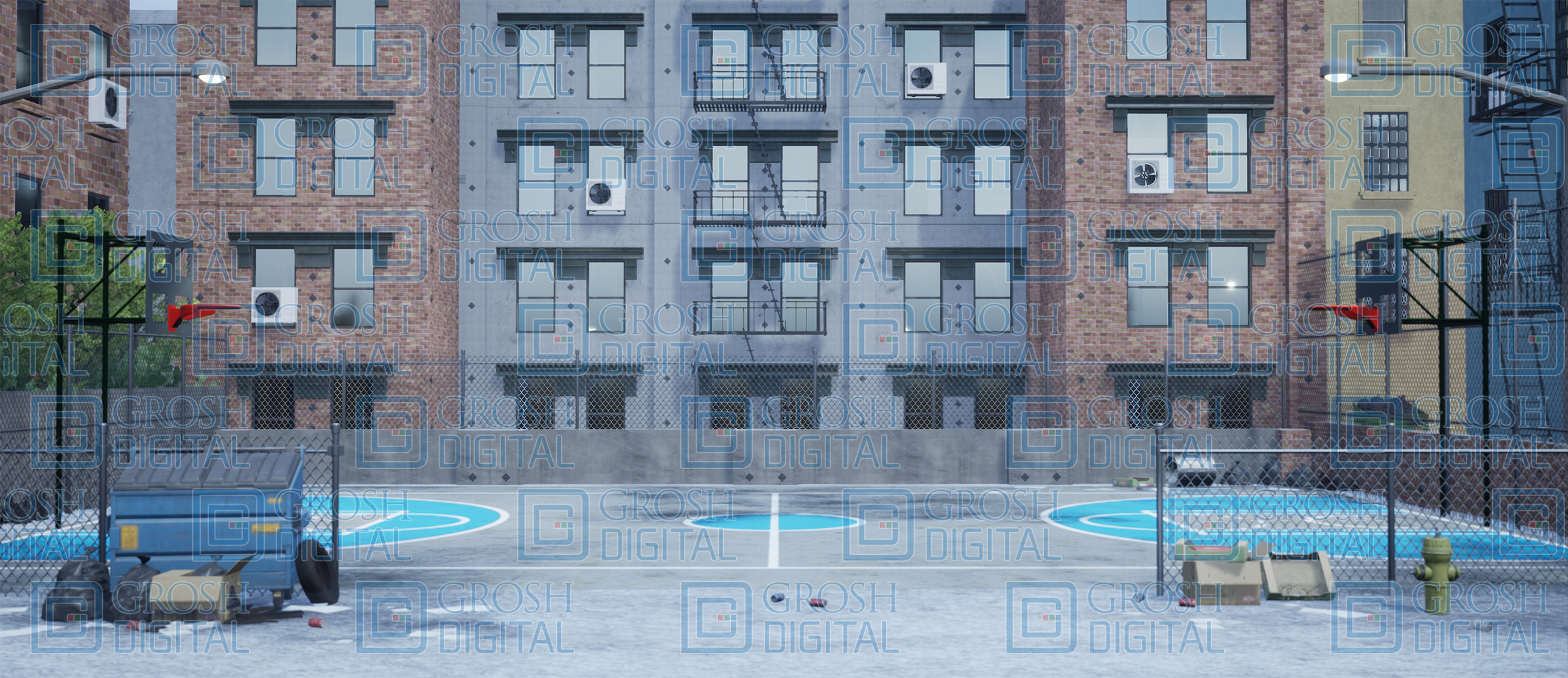 Daytime Inner City Projected Backdrop for Exteriors, Streets, West Side Story
